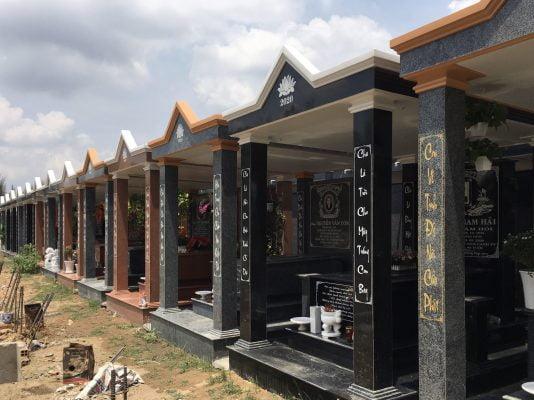 Khu mộ đơn nhà mồ tại nghĩa trang đa phước (xây, ốp đá granite)