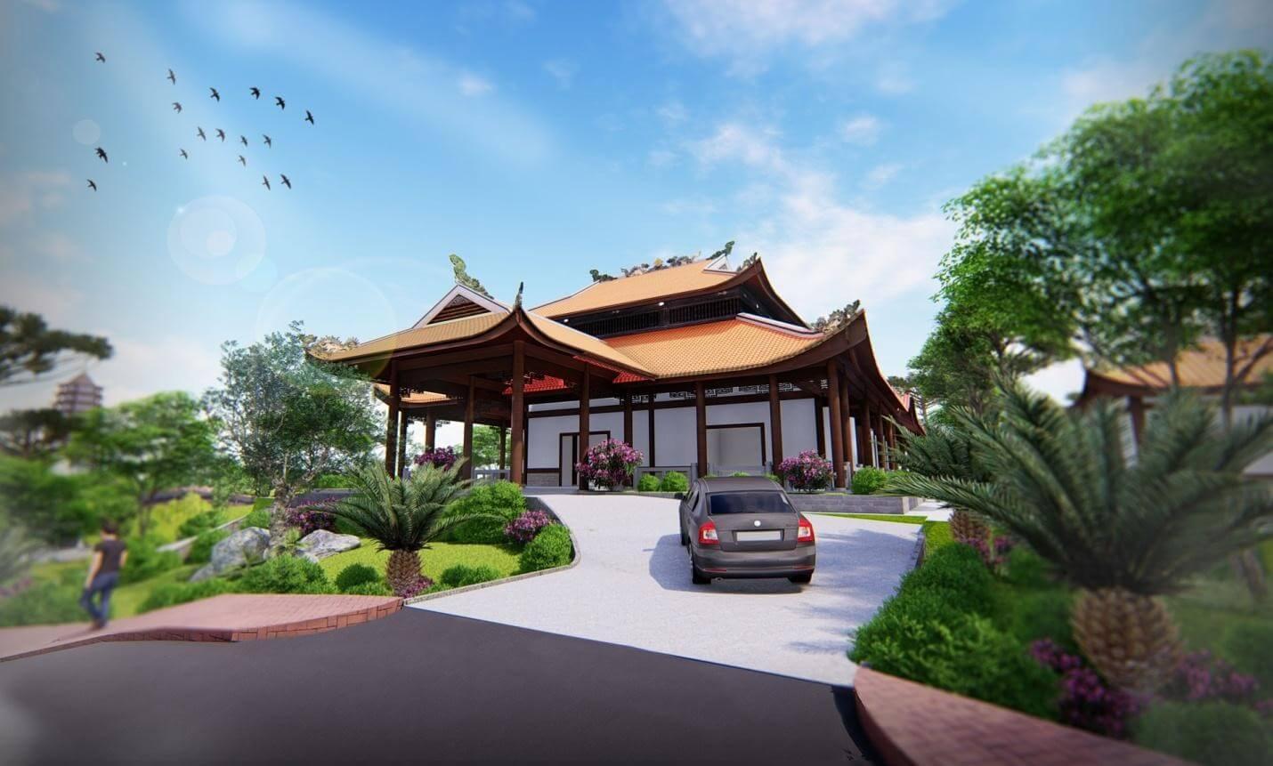 Phối cảnh 3D nhà mồ gia tộc của công viên vườn địa đàng huế
