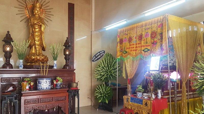 Không gian làm lễ tang tại Chùa Ấn Quang