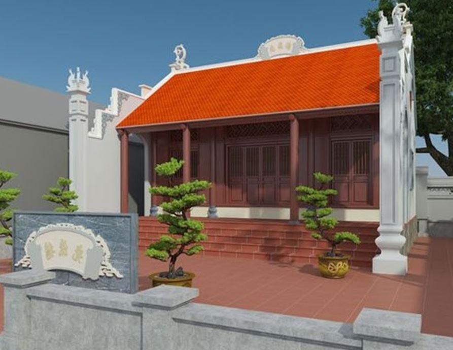 thiết kế nhà từ đường đẹp 3 gian