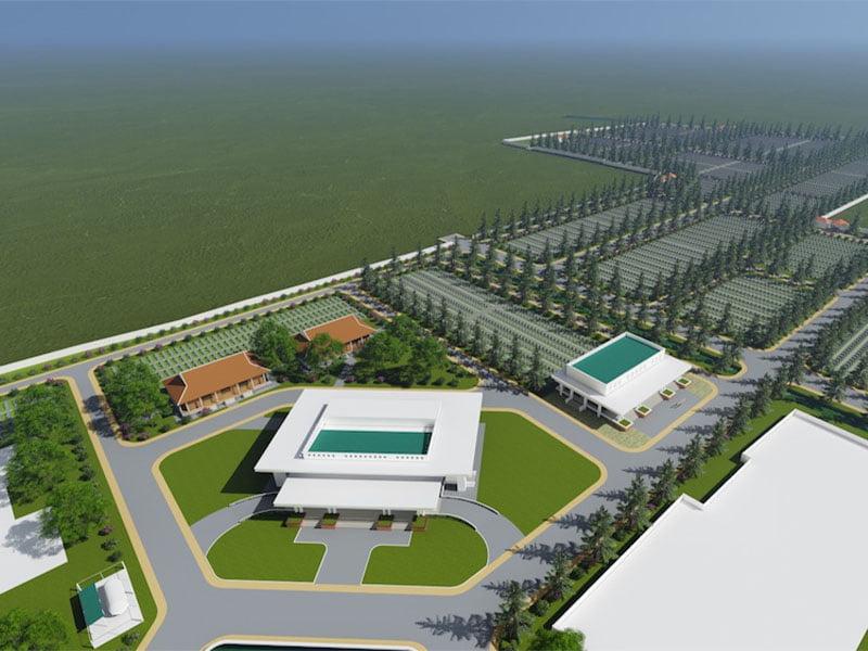 Toàn cảnh TT Hỏa táng và Công viên nghĩa trang Vạn Phước Viên - tỉnh Tiền Giang