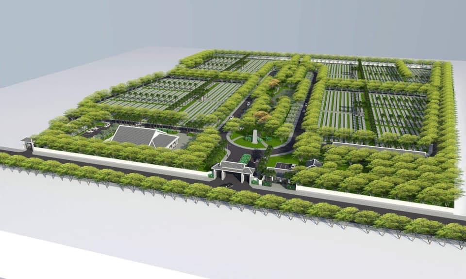 Phối cảnh tổng thể giai đoạn 1 của dự án Công viên nghĩa trang Phúc An Viên Long An