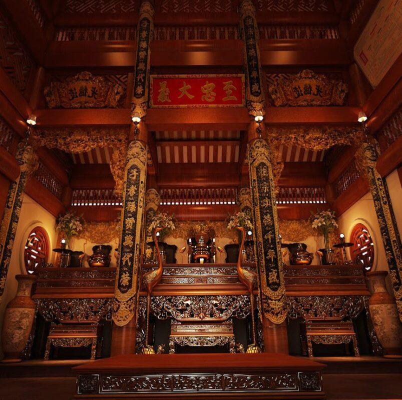 không gian cổ kính trang nghiêm của một nhà thờ họ miền bắc